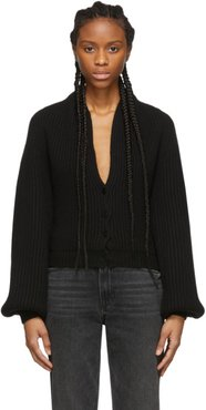 Black Wool Draped Neck Cardigan