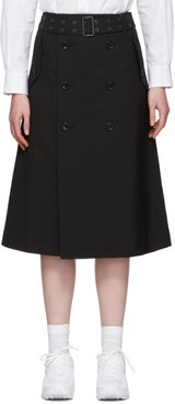 Black Tropical Wool Trench Skirt
