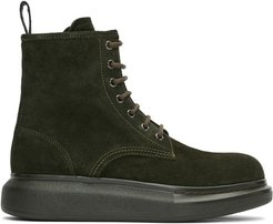 Green Suede Lace-Up Boots