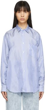 Blue and White Cupro Striped Forever Shirt