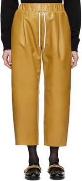 Yellow Leather Drawstring Trousers