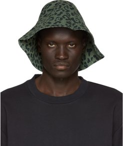 Black and Green Leopard Chaos Print Bucket Hat