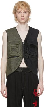 Black and Green Waxed Utility Vest