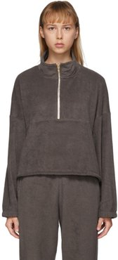 SSENSE Exclusive Brown Terry Diana Half-Zip Sweatshirt
