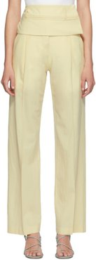 Yellow Wool Double Belted Trousers