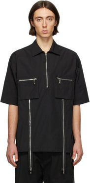 Black Zip Detail Short Sleeve Shirt
