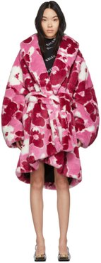 Pink Fluffy Peony Cocoon Wrap Coat