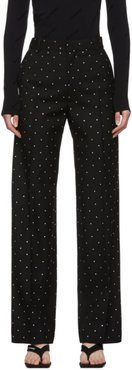 Black Wool Strass Cropped Trousers