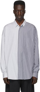 Navy and White Colorblocked Stripe Shirt