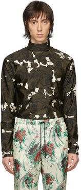 Green and Off-White Floral Mock Neck T-Shirt