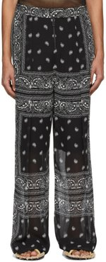 Black and White Paisley Scarf Trousers