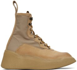 Beige Panelled Lace-Up Boots