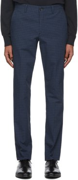Blue Check Mid Fit Chino Trousers