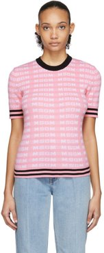 Pink All Over Logo Short Sleeve Sweater