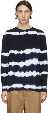 Blue Tie-Dye Stripes Sweater