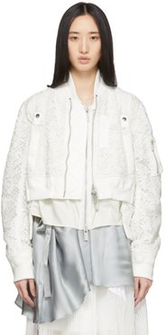 White Embroidered Lace Bomber Jacket