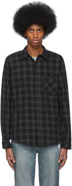Black and Grey Plaid Brushed Shirt