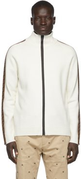 White Forever Fendi Tape Zip-Up Sweater