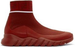 Red Tech Knit Forever Fendi High-Top Sneakers
