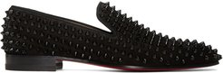 Black Suede Spikes Dandelion Loafers