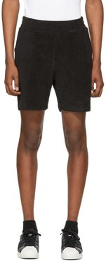 Black Terry Logo Embroidery Shorts