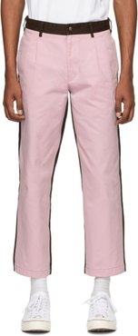 Pink and Brown Single-Pleat Chino Trousers