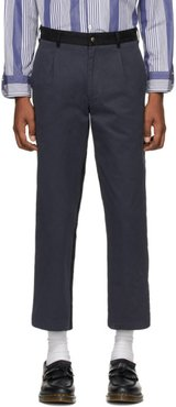 Navy and Black Single-Pleat Chino Trousers