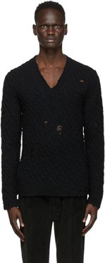 Black Wool Distressed Sweater
