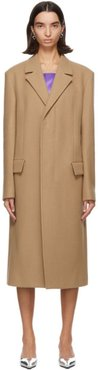 Tan Wool and Cashmere Oversized Coat