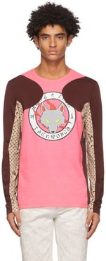 Pink and Burgundy Jersey Long Sleeve T-Shirt