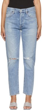 Blue Liya High-Rise Distressed Classic Fit Jeans
