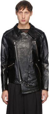 Black Leather Grafting Riders Jacket