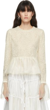 Off-White Wool and Silk Lace Blouse