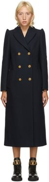 Navy Wool Double-Breasted Coat