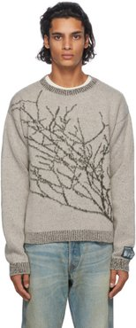 Grey and Green Wool Branches Sweater