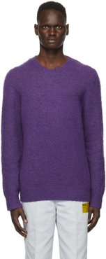 Purple Brushed Alpaca Crewneck Sweater