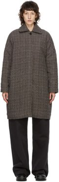 Brown Wool Check Cocoon Coat