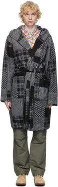 Black and Grey Patchwork Robe