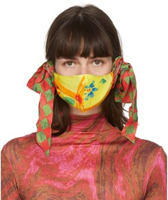 SSENSE Exclusive Yellow and Green Floral Bow Face Mask
