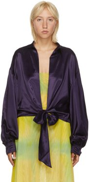 SSENSE Exclusive Purple Satin Ribbon Osho Blouse