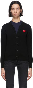 Black and Red Heart Patch Cardigan