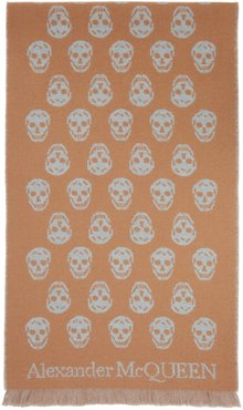 Reversible Beige and Grey Skull Scarf