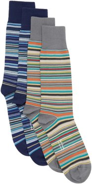Two-Pack Blue and Grey Signature Stripe Socks