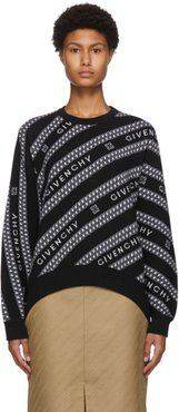 Black and White Chain Logo Jacquard Sweater