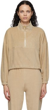 Tan Velour Diana Half-Zip Sweatshirt