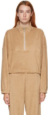 SSENSE Exclusive Beige Terry Diana Half-Zip Sweatshirt
