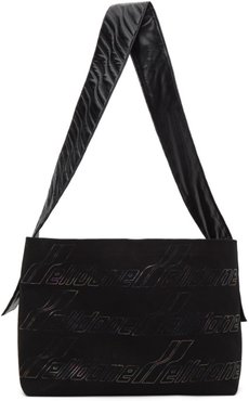 Black Canvas Maxi Logo Messenger Bag