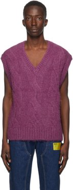 Purple Cable Knit Vest