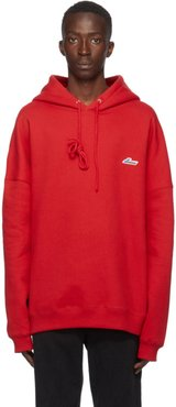 Red Embroidered Logo Hoodie