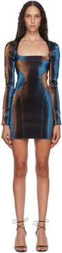 Blue and Brown Stretch Mini Dress